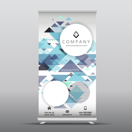 Business roll up banner with geometric design