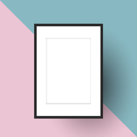 Blank picture frame on a two tone background Imagens