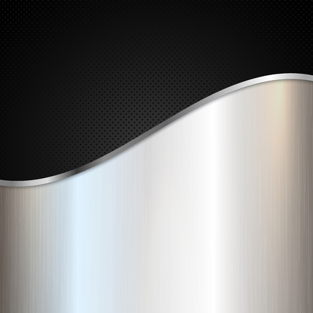 Abstract metallic background with silver shiny metal and black perforated design