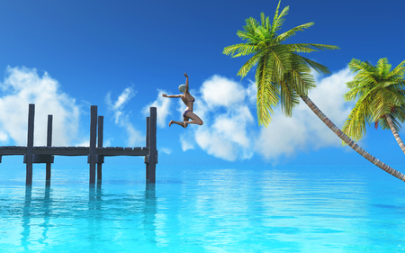3D render of a female jumping off a jetty into the sea