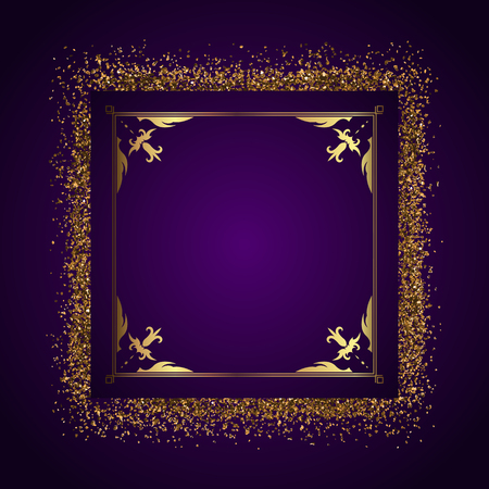 glittery: Decorative frame with golden glitter