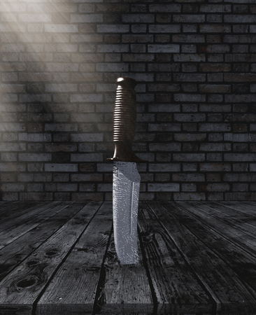 3D render of a knife stuck in a wooden table in a grunge brick room