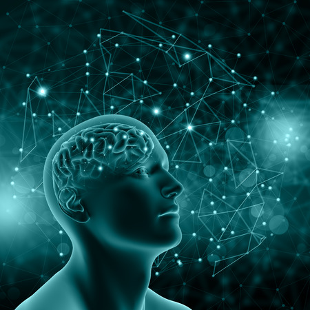 3D render of a male figure with brain on background with connecting dots and lines Stock Photo