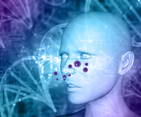3D render of a medical background with female head and fictional allergy virus cells