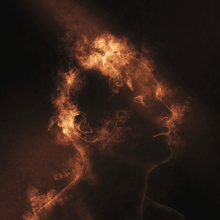 3D render of a male figure with flames on head depicting mental health