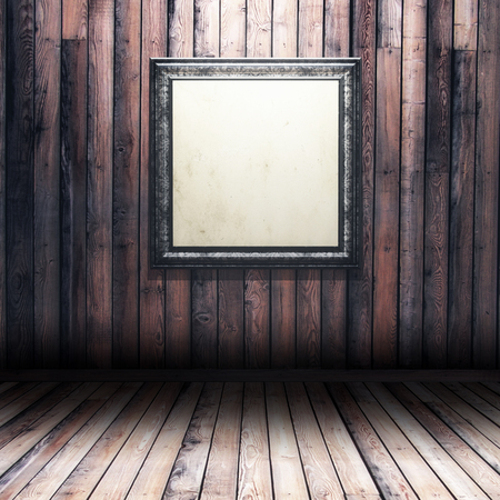 3D render of a grunge wood interior with blank picture frame