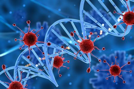 DNA 가닥을 공격하는 바이러스 세포의 3D 렌더링 스톡 콘텐츠