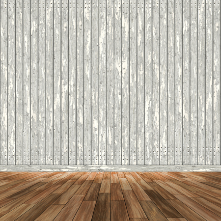 3D render of a room interior with wooden walls and floor