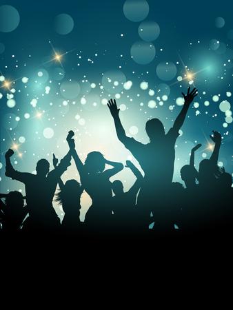 Silhouette di una folla di partito emozionante su uno sfondo di luci bokeh Archivio Fotografico - 85095482