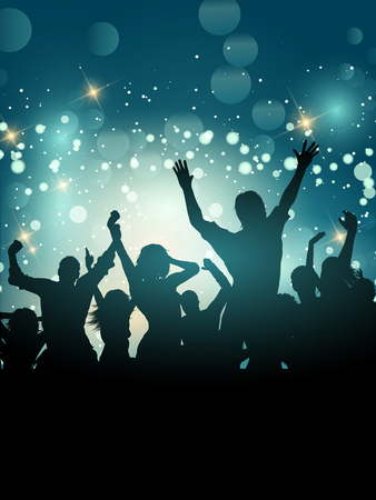 Silhouette of an excited party crowd on a bokeh lights background