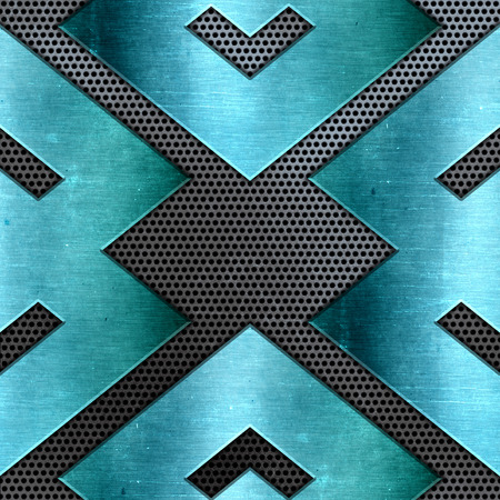 Abstract background with shiny teal metal on a perforated metallic texture Stock Photo