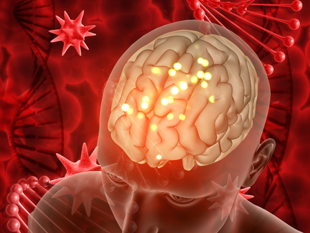 3D render of a medical background with male figure and brain