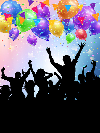 Silhouettes of party people on a balloons, bunting and confetti background
