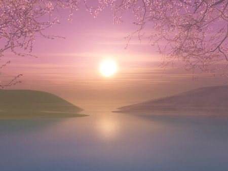 3D render of a sunset landscape with cherry tree against a sunset sky Stock Photo