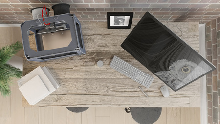 3D render of a top view of an office work space