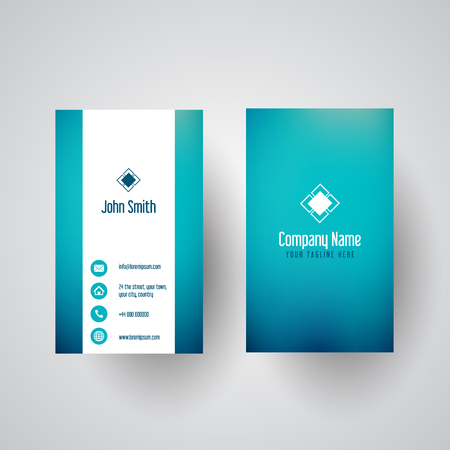 Business card with a teal gradient design