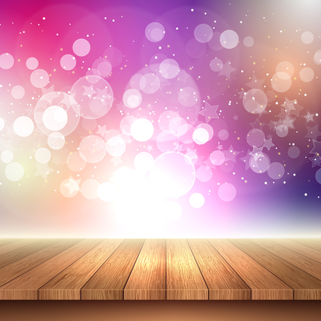 Christmas background with a wooden table looking out to bokeh lights and stars