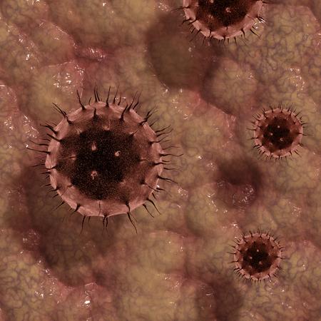 3D render of virus cells on skin like texture