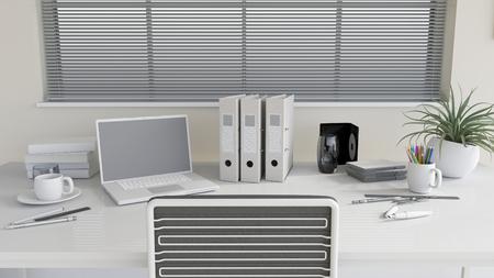 3D render of a modern office work desk