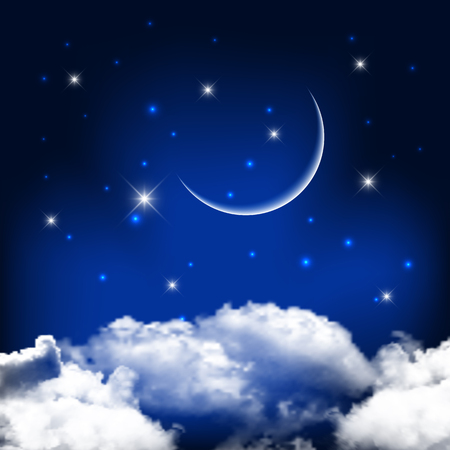 Night sky background with moon above clouds - ideal for Halloween