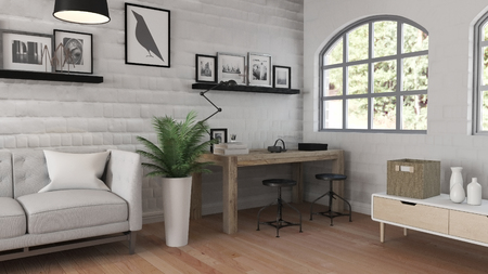 3D render of a modern office interior Stock Photo