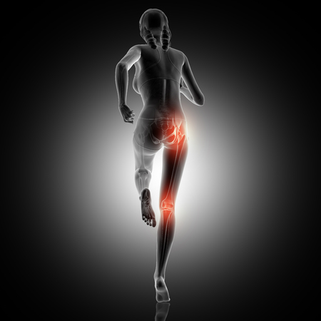 3D render of a rear view of a female running with knee and hip joint highlighted