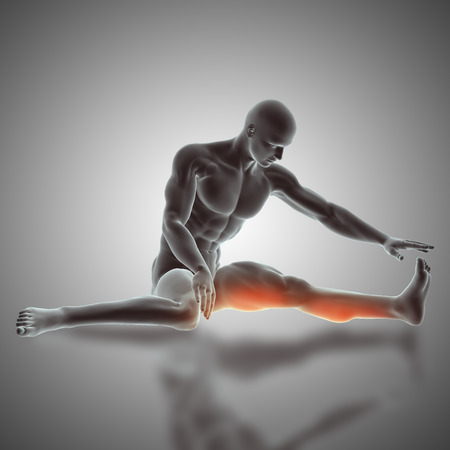 3D render of a male figure in a seated  stretch pose Stock Photo