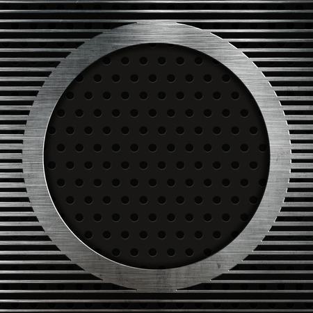 Abstract metallic texture on a perforated metal background