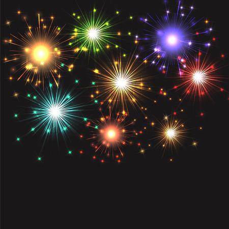 Background of exploding fireworks Stock Photo