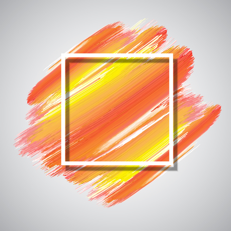 White square frame on a brush stroke painted background Stock Photo