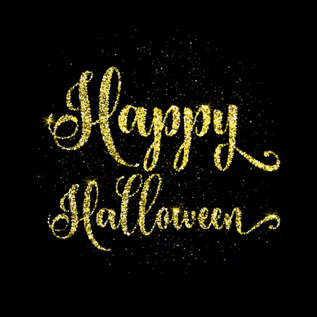 Happy Halloween text background with gold glitter effect Stock Photo