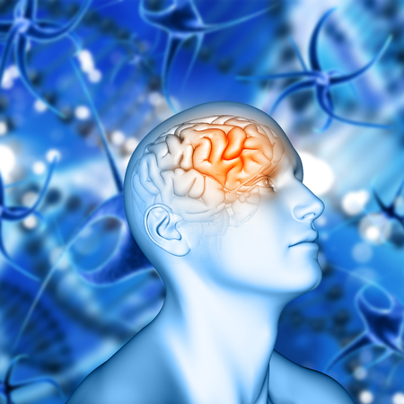 3D render of a male figure with brain highlighted on virus cell background