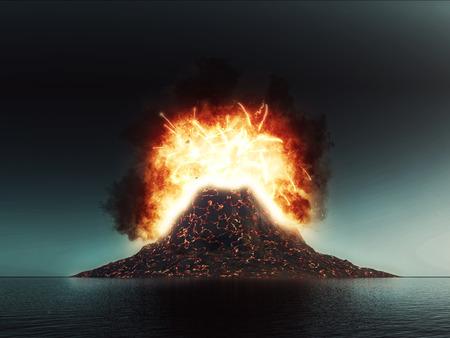 폭발적인 화산의 3D 렌더링