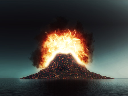 3D render of an exploding volcano