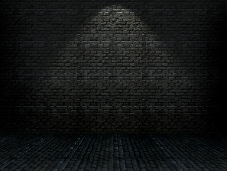 3D render of a grunge brick interior
