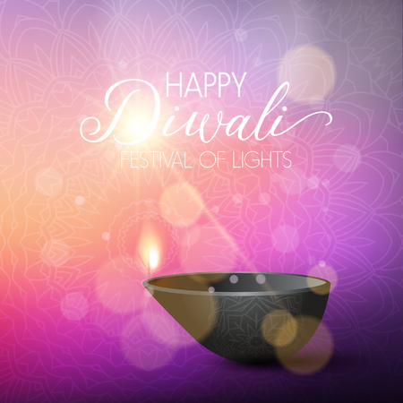 Decorative Diwali background with oil lamp Stock Photo