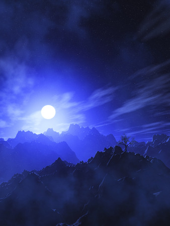 3D render of a mountain landscape with moonlit sky