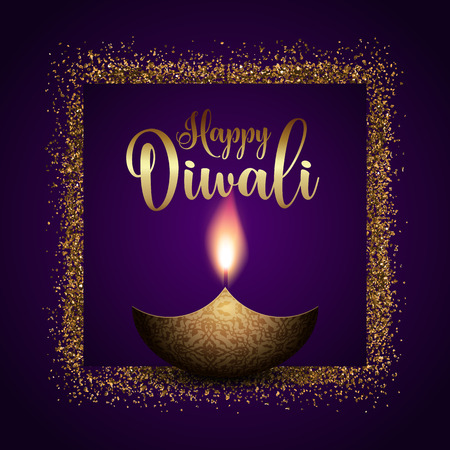 Happy Diwali background with gold glitter frame