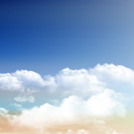 Realistic fluffy clouds on a blue sky background Stock Photo