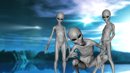 3D render of a science fiction landscape with grey alien creatures
