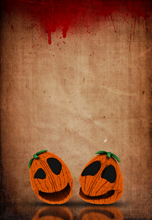 3D render of a Halloween Jack o lanterns on a grunge blood splattered paper background Stock Photo