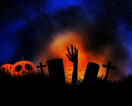 Halloween background with zombie hand bursting out of the ground and pumpkins Stock Photo