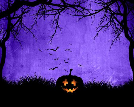 Halloween background with pumpkin on purple background with bats Zdjęcie Seryjne