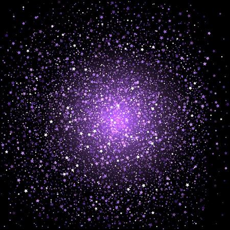 Celebration background with purple star confetti Stock Photo