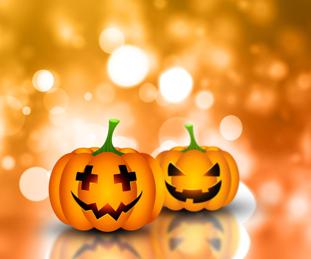 Halloween background with pumpkins on a bokeh lights background