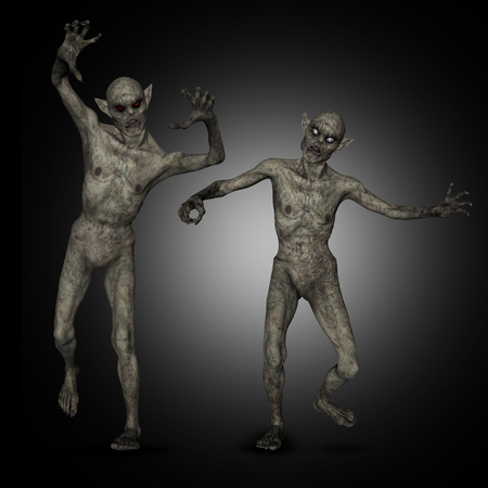 3D render of evil Halloween zombies