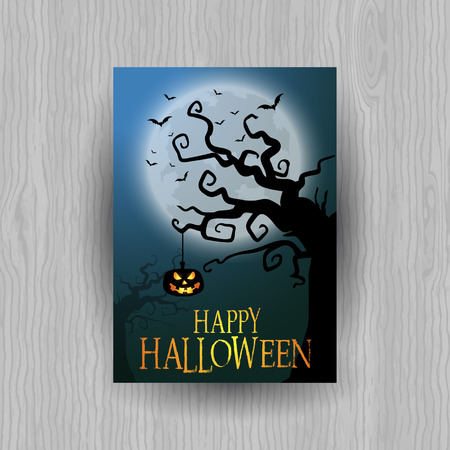 Halloween background with spooky pumpkin and tree Stock Photo