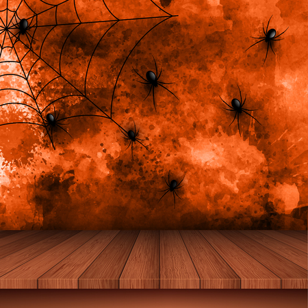 Halloween background with spiders and cobweb on a grunge background Stock Photo