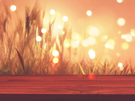 3D render of a wooden table with defocussed autumn wheat in the background