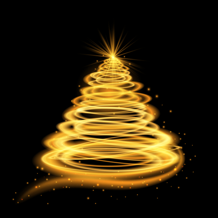 Gold glowing style Christmas tree